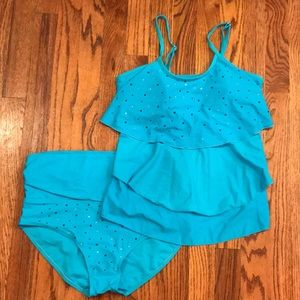 Other - Turquoise Bedazzled Swimsuit Tankini Size Small S